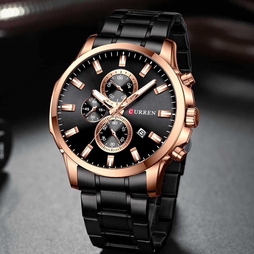 Reloj de acero inoxidable para hombre, Reloj cronógrafo de cuarzo, Reloj deportivo para hombre