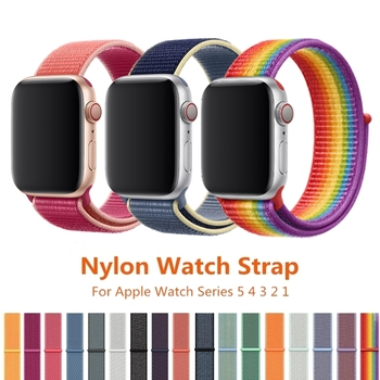 цена на Band For Apple Watch Series 5 4 44MM 40MM Nylon Soft Breathable Replacement Strap Sport Loop For iWatch series 3/2/1 38MM 42MM