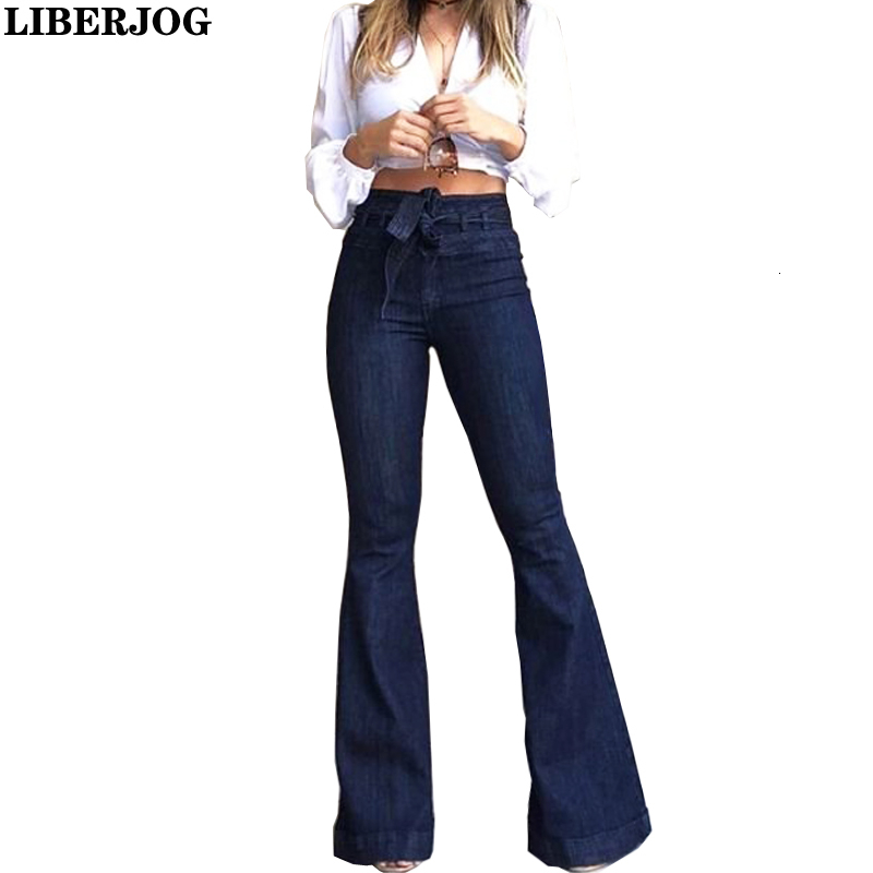 LIBERJOG Women Jeans Casual Bell bottoms Wide Leg Dark Blue Denim Pants Spring Autumn Female Elegant Flare TrousersJeans   -