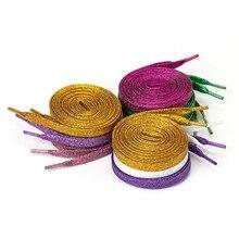 Цветные мужские и женские шнурки для кроссовок с металлическим блеском, блестящий шнурок золотого цвета, серебристые плоские шнурки, спортивная обувь для бега, шнуровка