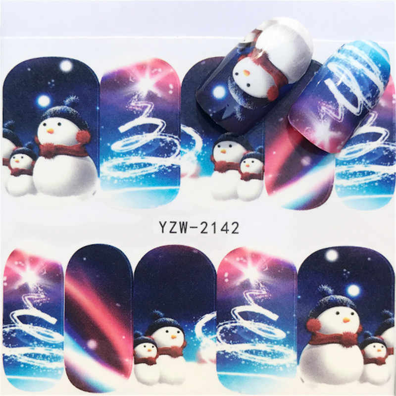 1 ورقة مسمار الفن عيد الميلاد نقل المياه نصائح ندفة الثلج الأزرق الكامل يلتف أنماط ملصقا مؤقت الأظافر DIY بها بنفسك أداة السنة الجديدة هدية