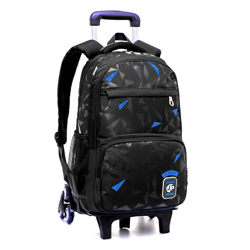 Grades 4-9 Kids Trolley Schoolbag Book Bags Boys Girls Backpack Waterproof Removable Children School Bags With 2/6 Wheels Stairs