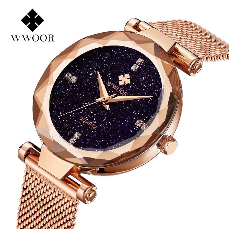 WWOOR Designer Brand Luxury Women Stainless Steel Starry Sky Watches For Women Rose Gold Bracelet Quartz Wristwatch Women Clock