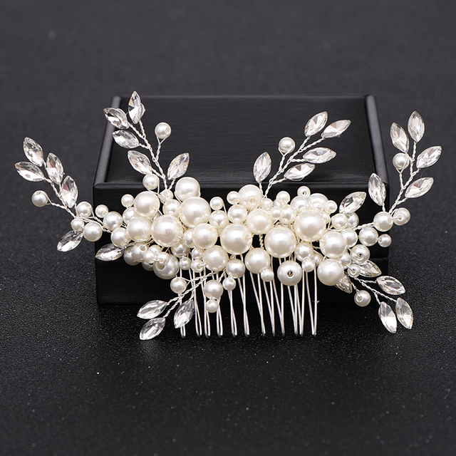 Silver Color Pearl Crystal Wedding Hair Combs Hair Accessories for Bridal Flower Headpiece Women Bride Hair ornaments Jewelry 4