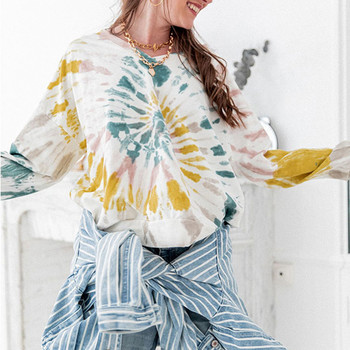 цена на худи толстовка женская hoodie Coat women's Fashion Gradient Tie-dye Print V-Neck Long Sleeve loose Autumn Sweatshirt Tops