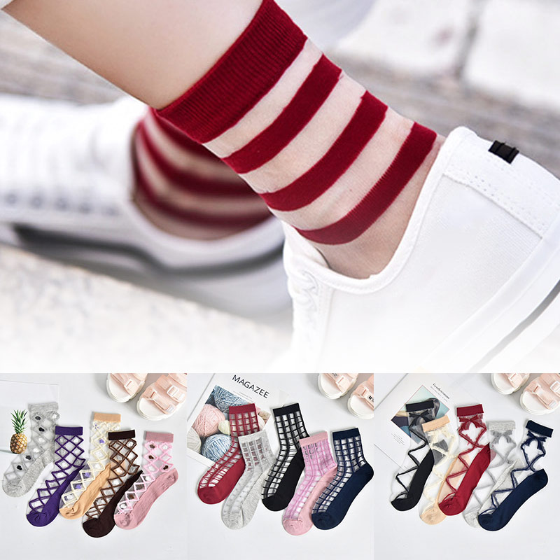 5 Pairs Fashion Mesh Transparent Socks For Women Comfortable Breathable Thin Fishnet See Through Ankle Sock C55