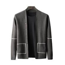 Мужской свитер, однотонный кардиган в тонкую полоску с длинным рукавом, свитер, осенняя мода, теплая куртка, осень и зима Y