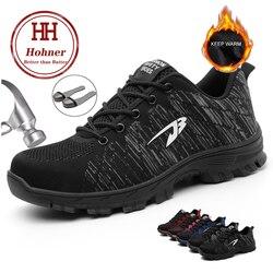 Hohner Homens Inverno Sapatos de Segurança do Trabalho Indestrutível Construção Camurça Botas de Segurança Biqueira de Aço Respirável Plus Size 35-48