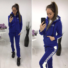 Two-piece set women new hooded plus velvet sports sweater letters casual zipper set Running fitness two-piece suit separate стоимость