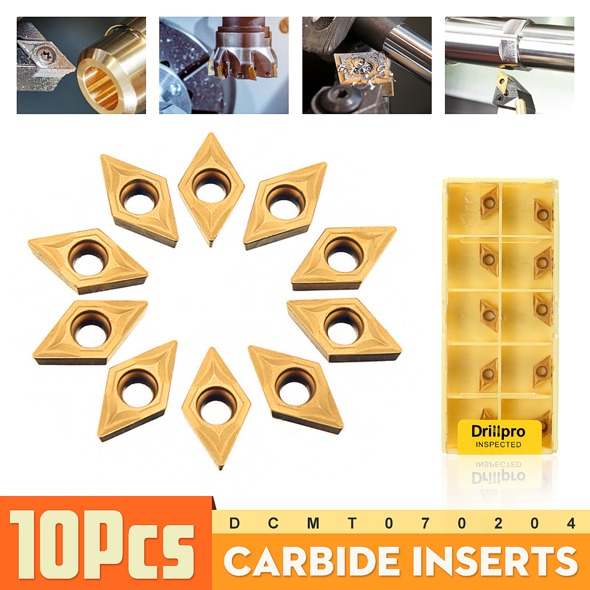 10PCS/Box DCMT070204 YBC251 Carbide Inserts For Lathe Turning Tool Boring Bar Brand New