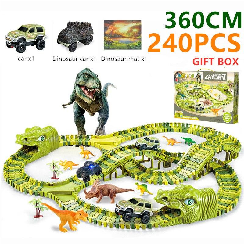 Лидер продаж, железная дорога, волшебный трек, игрушечный динозавр, трек, гибкий гоночный автомобиль с ковриком динозавра, модель автомобил...