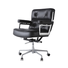 High-end leather office computer boss chair home business desk chair mute pulley rotating ergonomic chair