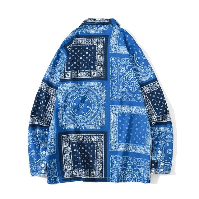 [EWQ] 2021 Spring Nw Blue Bandana Shirt  Print Retro Turn-down Collar Street Shirt Long Sleeved Casual Shirts Blouse Plus Size 2