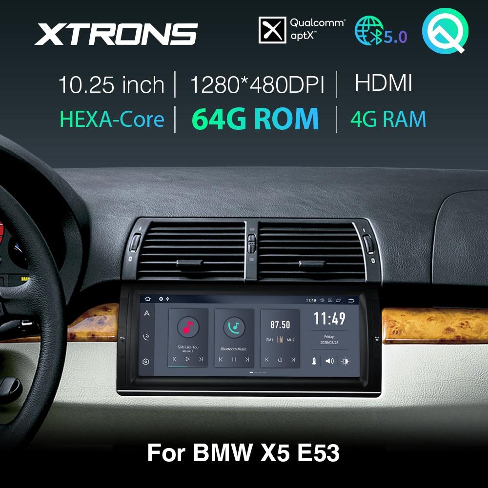 XTRONS Qualcomm Bluetooth 5.0 AptX 10.25 IPS Android 10.0 PX6 samochodowy odtwarzacz stereofoniczny GPS dla BMW X5 E53 1999- 2004 2005 2006 brak DVD