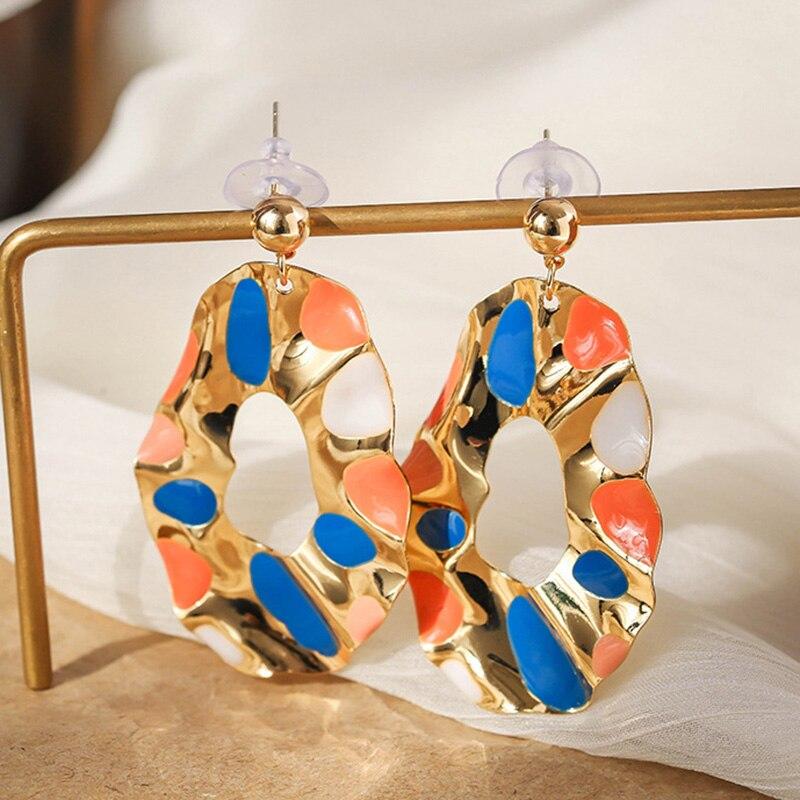 1Pair Colourful Earring Women Fashion Earrings Sweet Mix Earrings Color-block For Beauty Women Girls Bijou Statement For Woman