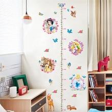 Disney królewna śnieżka księżniczka miarka wzrostu naklejki ścienne na pokoje dla dzieci Home Decor Cartoon naklejki na ścianę do mierzenia wzrostu tapeta pcv