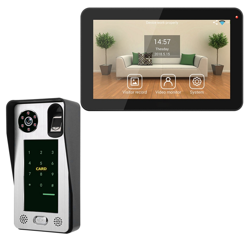 ABKT-Mountainone 9-Inch Wired Wifi Fingerprint Ic Card Waterproof Video Phone Doorbell Infrared Video Intercom System Black +Sil