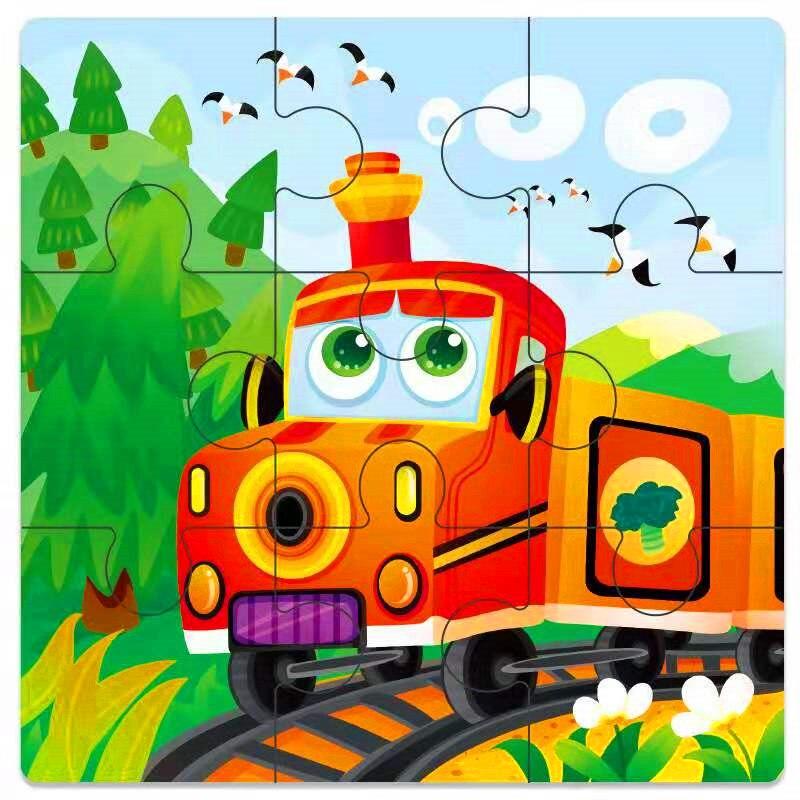 Мини Размер 11*11 см детская игрушка деревянная головоломка деревянная 3D головоломка для детей Детские Мультяшные животные/дорожные Пазлы обучающая игрушка - Цвет: Сиренево-синего цвета