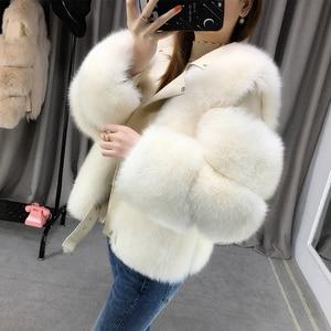 Image 4 - Zdfurs * 輸入キツネの毛皮のパッチワーク両面毛皮モト & バイカーコート女性2020革の毛皮のオーバーコート