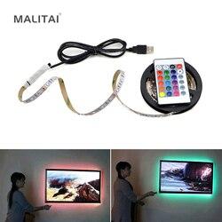 Светодиодная лента с питанием от USB 5 В, RGB 2835 3528 SMD HDTV TV, настольный ПК экран с подсветкой и уклоном, 1 м, 2 м, 3 м, 4 м, 5 м, не водонепроницаемая