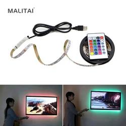 5 В USB силовой светодиодный светильник RGB 2835 3528 SMD HD ТВ Настольный ПК экран подсветка и косой светильник 1 м 2 м 3M 4M 5 м не водонепроницаемый
