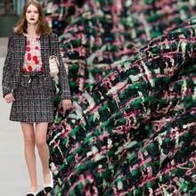 Pearlsilk frança rosa verde tweed tecidos outono jaqueta vestido ternos vestuário materiais o medidor de pano costura freeshipping