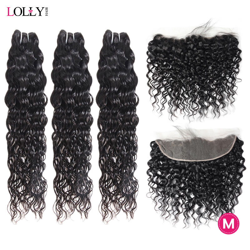 Lolly 13x4 Frontal With Bundles Middle Ration Peruvian Human Hair Water Wave Lace Closure With Bundles Non-Remy 8-28 Inch