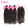 Luvin OneCut Hair Kinky Curly Peruvian Hair Human Hair 3 Bundles With Lace Closure Middle Part Bleached Knots Virgin Hair