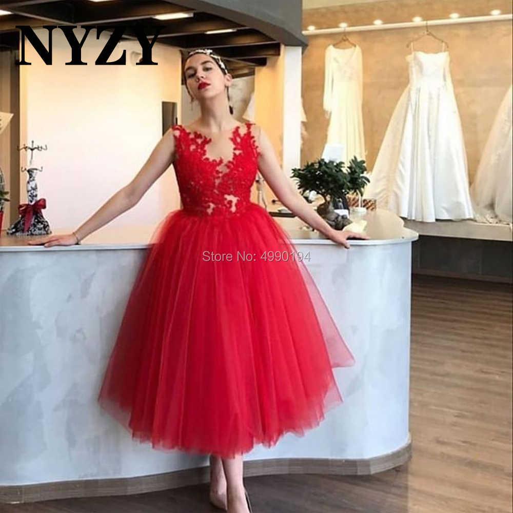 nyzy c274 elegante tüll sehen-durch top ballkleid rot cocktail kleider  hochzeit party kleid prom formal abendkleid