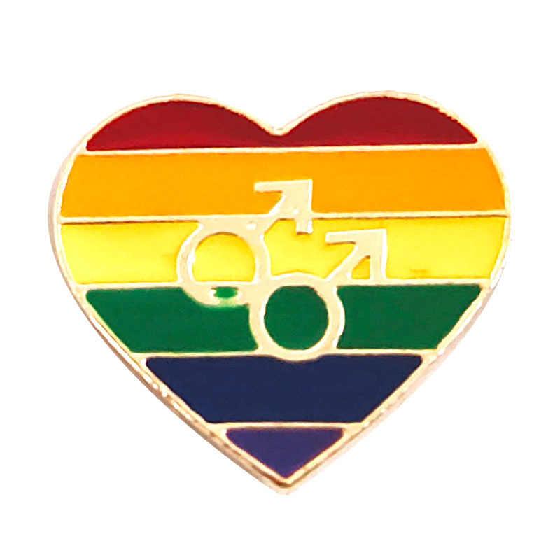 LGBT Spille Distintivo Dello Smalto Del Cuore Spilli Arcobaleno Gay Pride Spille Awareness Spille Cuore Dei Monili per le Donne Degli Uomini Unisex
