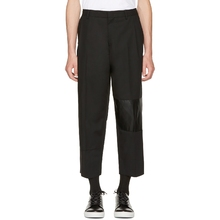 Self-made 2020 new men's casual pants loose nine-point trousers pasted with leather stitching.