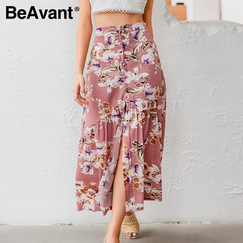 BeAvant Floral Print Retro Skirts Women High Waist Summer Holiday Split Sexy Skirts Female Ruffles Boho Skirts Bottoms 2020