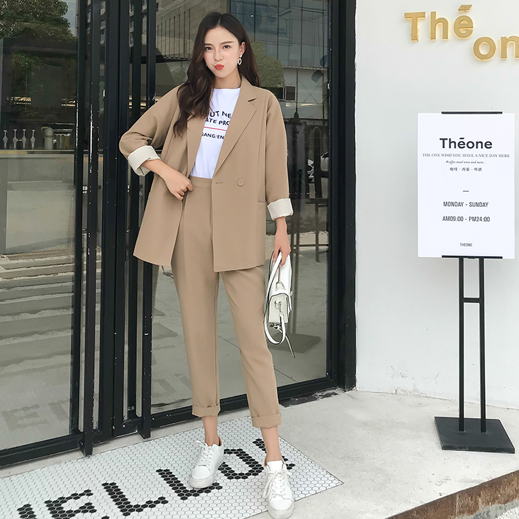 Women Sets Casual Solid Women Suits Pant Notched Collar Blazer Jacket Coats& Pencil Pant Khaki Female Suit Two Piece Autumn