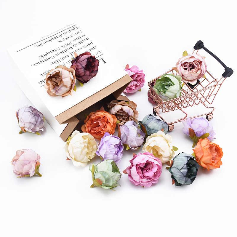 10 قطع الحرير الفاوانيا زهرة الجدار لتقوم بها بنفسك يدويا سجل القصاصات زهرة لتقوم بها بنفسك الهدايا صندوق إكسسوارات ديكور منزلي الزهور الاصطناعية
