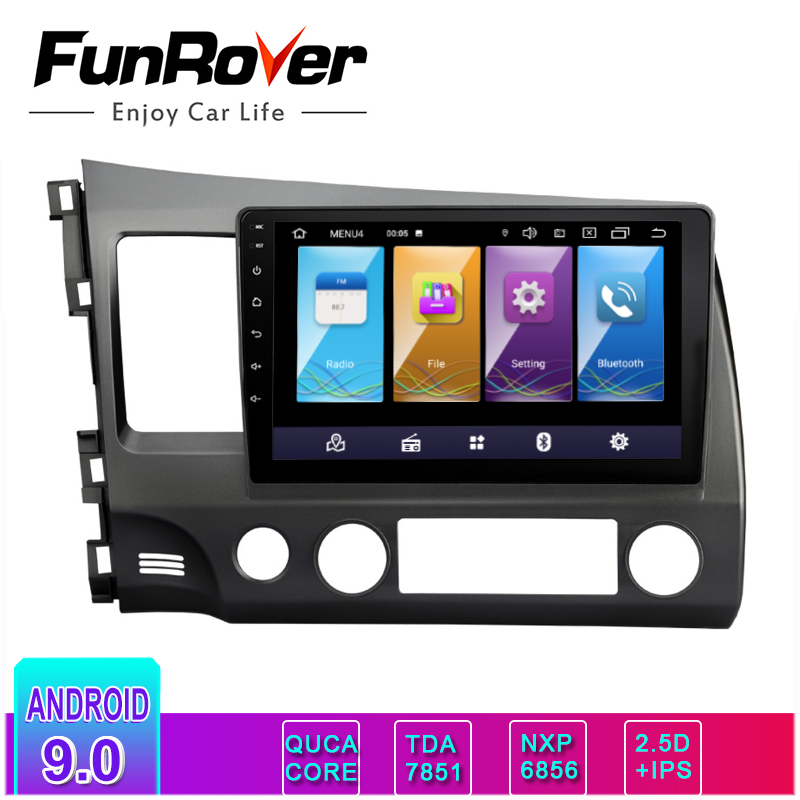 FUNROVER IPS + 2.5D Android9.0 Auto DVD multimedia GPS Navigation Für <font><b>honda</b></font> Links fahren <font><b>CIVIC</b></font> 2006-2011 vedio <font><b>stereo</b></font> radio audio image