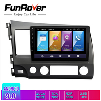 FUNROVER IPS+2.5D Android9.0 Car DVD multimedia GPS Navigation For honda Left driving CIVIC 2006 2011 vedio stereo Radio audio