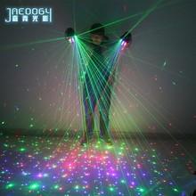 Alta qualidade palco dj festa dança 2 em 1 multi-linha rgb laser luvas with2 verde 1 vermelho 1 azul para led trajes luminosos mostrar