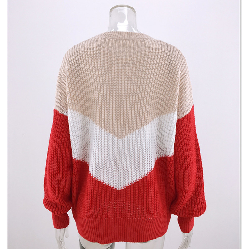 Geometric Sweater Knitwear Winter Top Contrast Color Long Sleeve Pullover Knitted Womens Sweaters Jumpers Ladies Cashmere E2019 in Pullovers from Women 39 s Clothing
