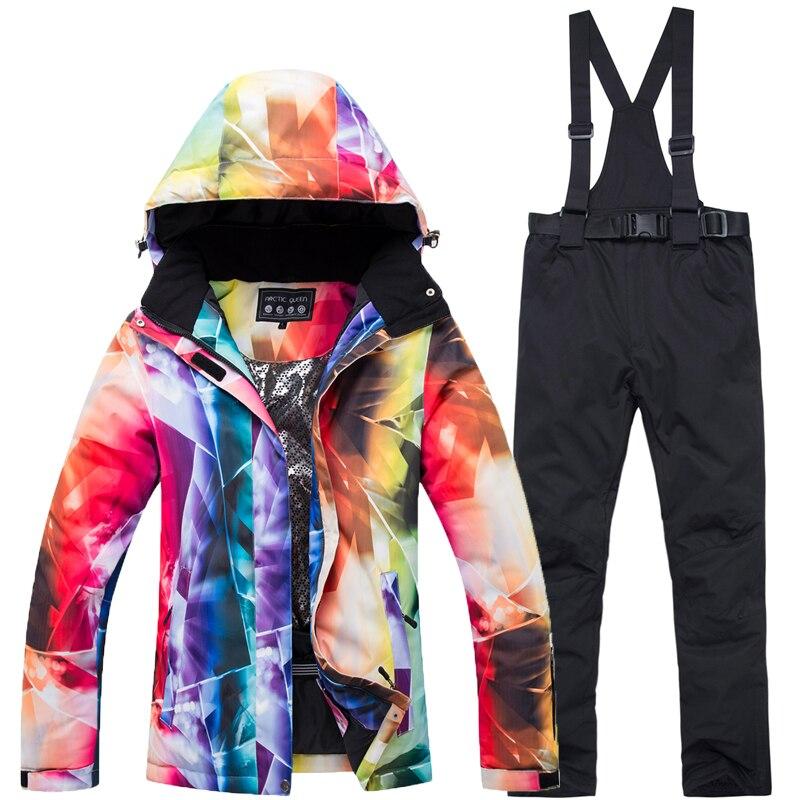 Nouveau costume de Ski chaud épais femmes imperméable coupe-vent Ski et snowboard veste pantalon ensemble femme neige Costumes vêtements de plein air - 3