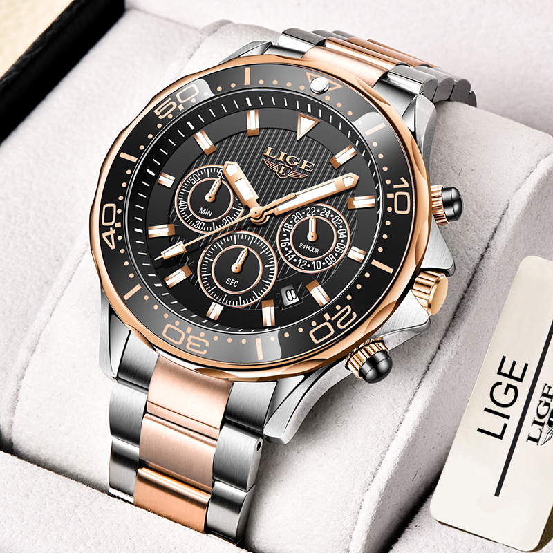 2021 New Sport Chronograph Men Watches LIGE Top Brand Luxury 316L Steel Quartz Clock Waterproof Big Dial Watch Relogio Masculino