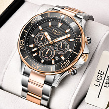 2021 New Sport Chronograph Men Watches LIGE Top Brand Luxury 316L Steel Quartz Clock Waterproof Big Dial Watch Relogio Masculino