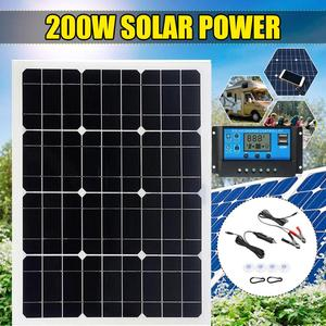 200W Solar Panel With 30A Controller Dual USB 12V/5V DC 18V Solar Cells Regulator Controller ect for car yacht RV Lights Charge