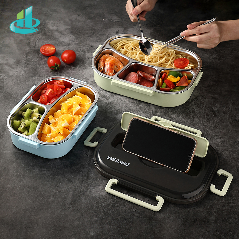 HENGFENG Portable 304 Stainless Steel Lunch Box Hot Japanese Style Compartment Bento Box Kitchen Leakproof Food Container title=