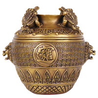 Laojunlu cobre puro fazer dinheiro em todos os lugares quatro cilindros de sapo ouro cornucópia ornamentos sorte  comprimento 20 alta 20 cm