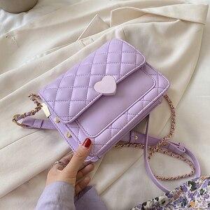 Маленькая сумка-Кроссбоди из искусственной кожи в форме сердца для женщин 2020, милая сумка через плечо с цепочкой, женская сумка через плечо
