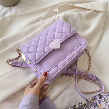 Heart-shaped Lock Small PU Leather Crossbody Bags For Women 2020 Sweet Chain Shoulder Handbags Female Cross Body Bag