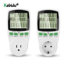 Medidor de energía eléctrica con toma Digital LCD, vatímetro de potencia, Kwh, medidor de corriente de voltaje, enchufe europeo y estadounidense