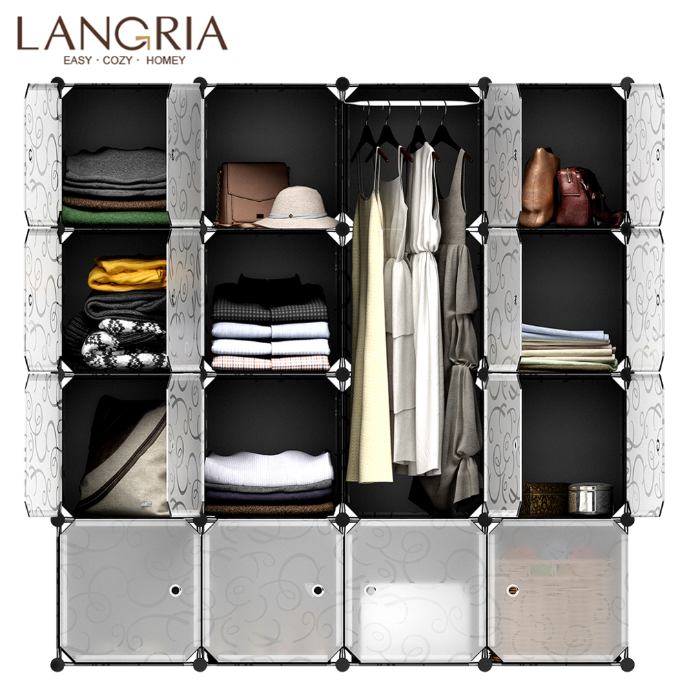 LANGRIA 16 Cube Assembly Simple Closet Plastic Cube Modular Mutilfunctional Storage Patterned Cabinet Bedroom Living Room