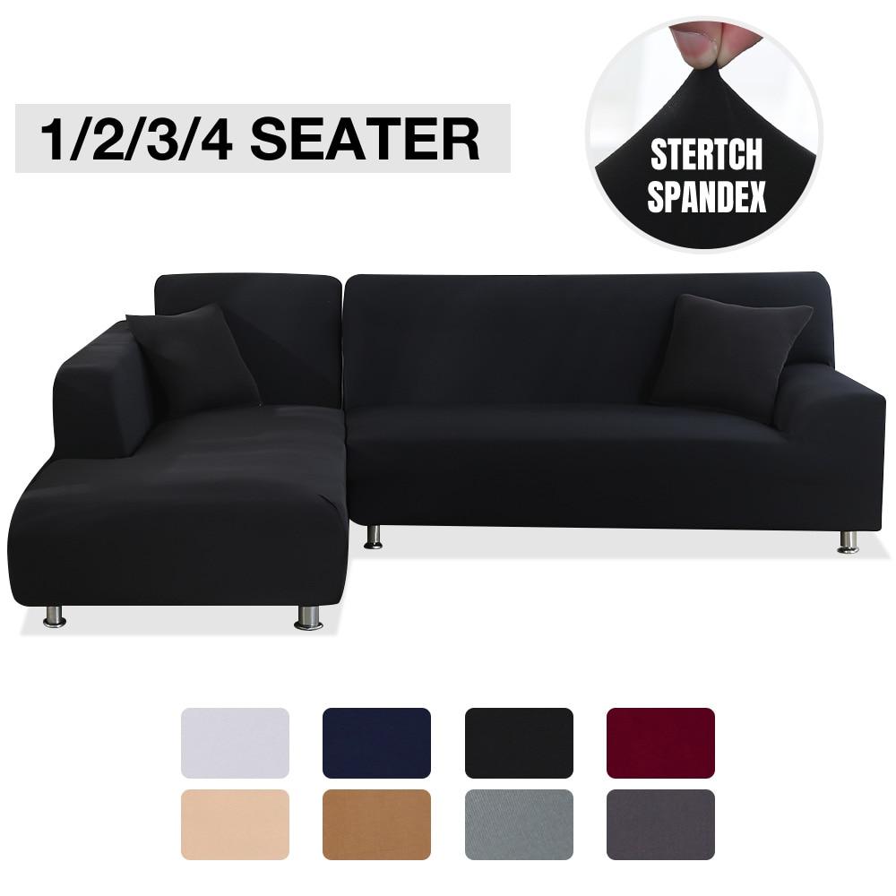 Capa de sofá elástica para sala de estar cor sólida capas de sofá estiramento capa de canto em forma de l slipcover secional 1/2/3/4 assento