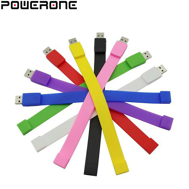 POWERONE Silicone Bracelet Wrist Band 4GB 8GB 16GB 32GB 64GB USB 2.0 USB Flash Drive Pen Drive Stick U Disk Pendrives